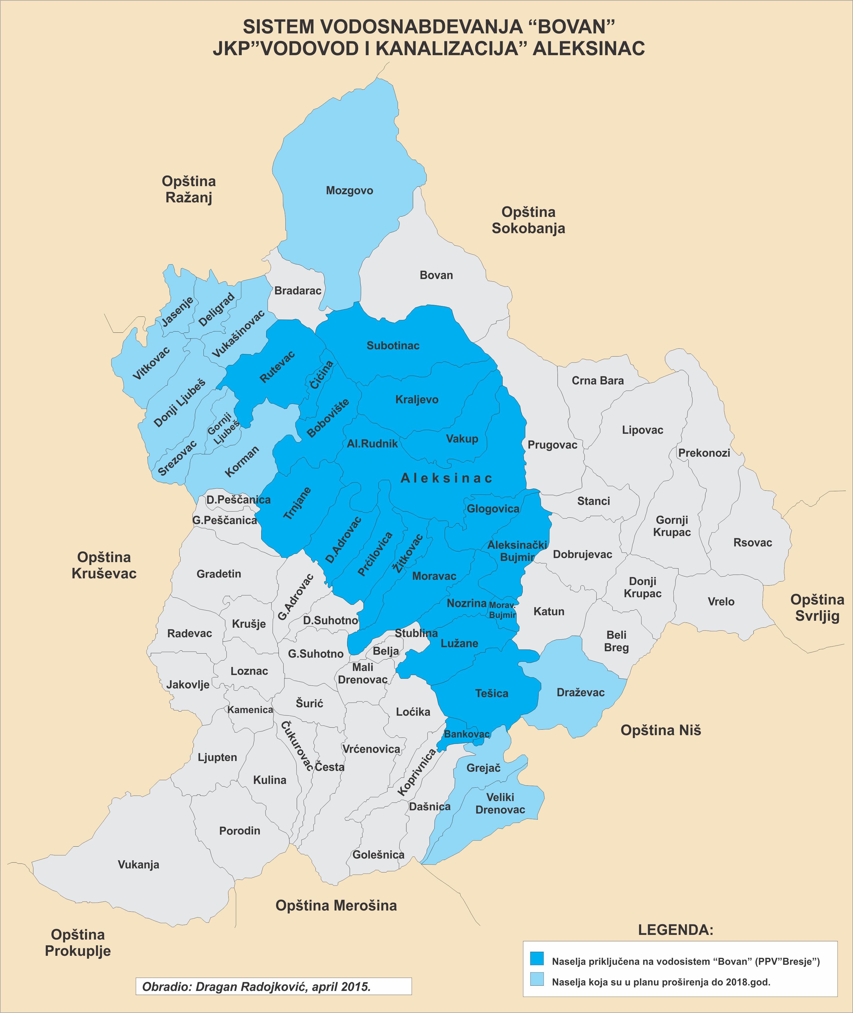 Mapa opstine vodosistem Bovan sa Tesicom april 2015