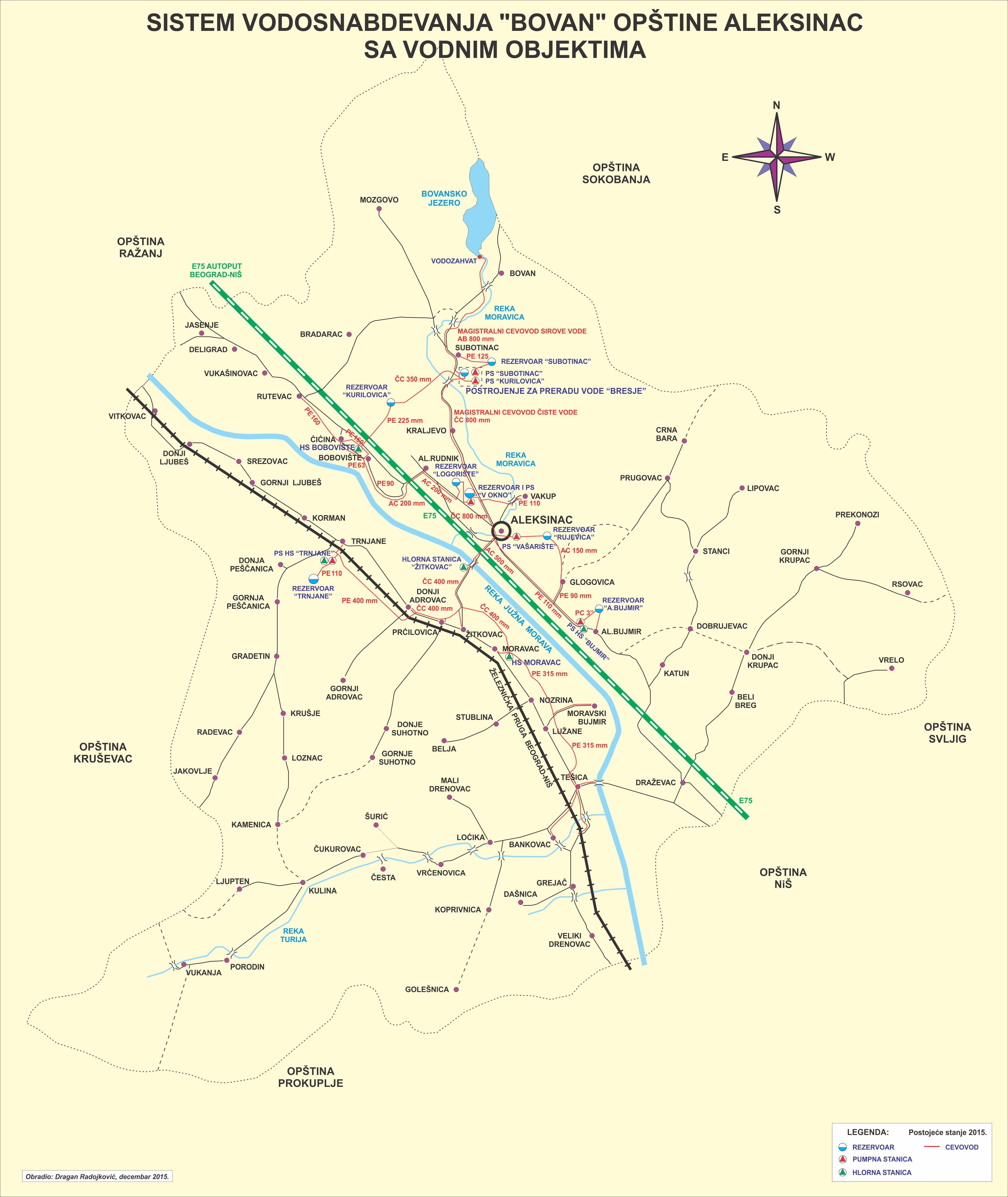 Mapa opstine vodosistem Bovan sa objektima cevovodima 2015